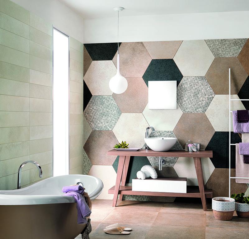 Leven in de badkamer tegels met een motief actief wonen - Rivestimento bagno shabby ...