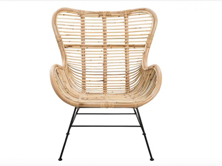 Loungestoel 'SOMONE' in riet en staal (85 x 90 x 50 cm), Casa, € 179.