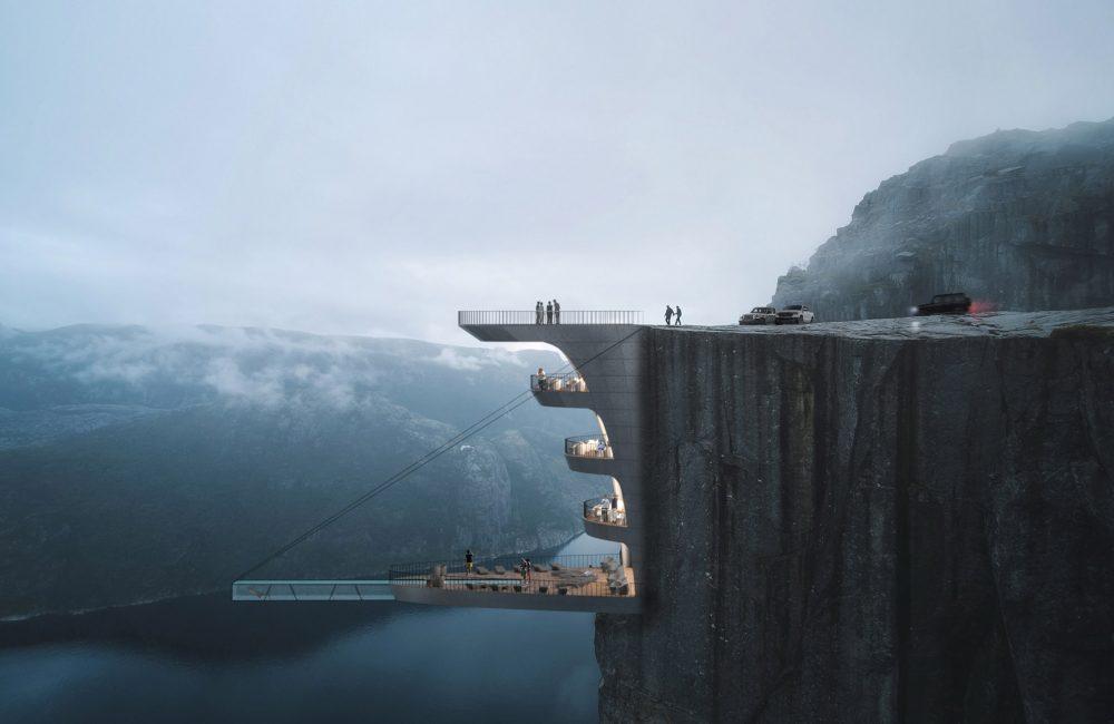 Zien: het hotel dat boven één van Noorwegens grootste fjords hangt