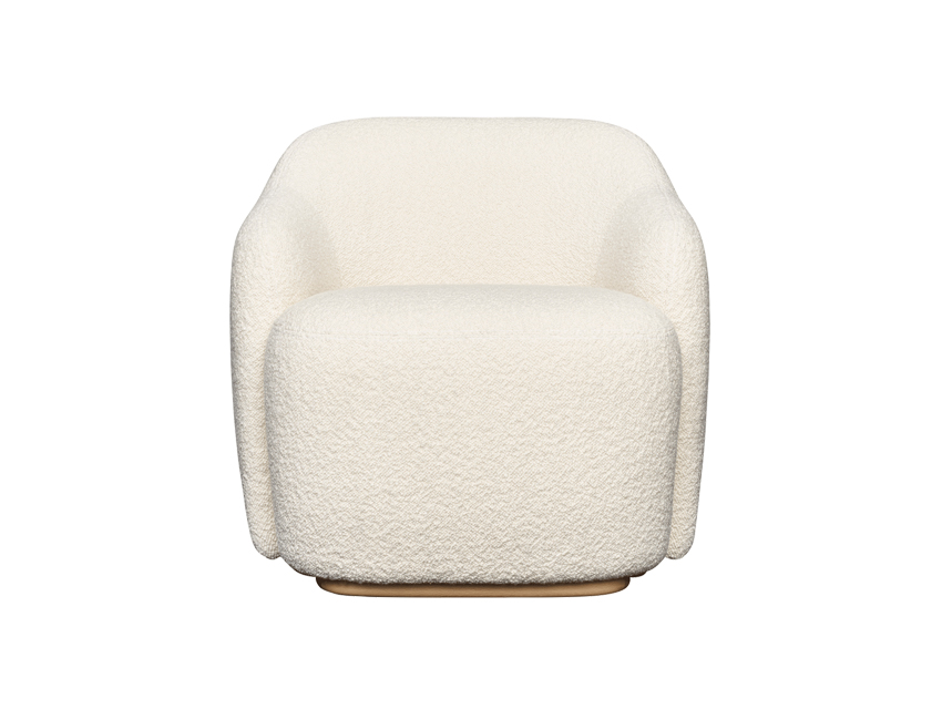 gewatteerde crèmekleurige stoel organische vorm