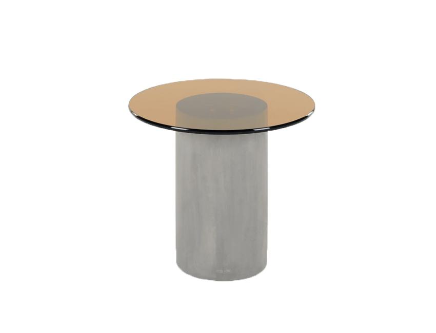 organische vorm tafel beton en glas made